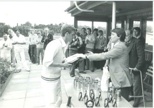 August, 1975 - Dougie Mattocks receives plate for Lowestoft Cricket Club from Robert Carter