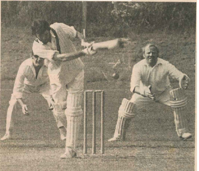 Acle vs. Ingham: Martin Willgress of Acle Terry Barnes & Ingham wicket-keeper Cyril Adams.